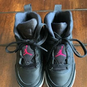 Toddler Girls Black and Pink Jordan's
